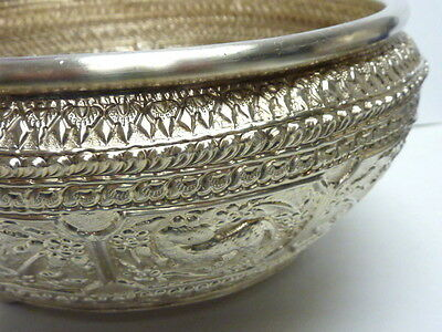 "VINTAGE SILVER  INDIA REPOUSSE FOOTED BOWL 7""x 3.25"" 356g FLORAL ANIMALS"