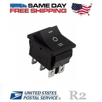 DPDT ~ Double Pole Double Throw 6-Pin (ON-OFF-ON) 20amp Rocker Switch