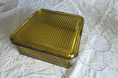 Vintage Refrigerator Container Vintage Amber Federal Glass With Cover Ribbed
