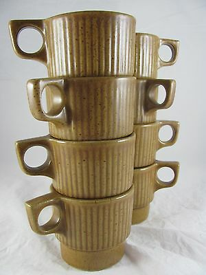 8 Monmouth Mojave Pottery Stacking Mugs, brown, maple leaf