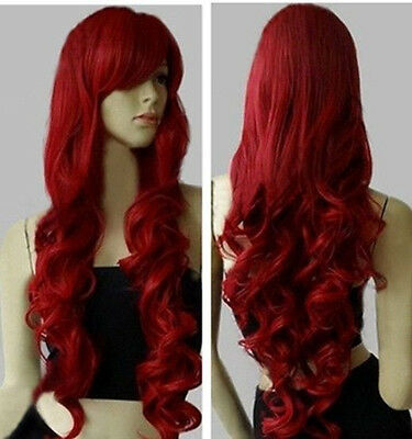 "32"" Long Heat Resistant Big Spiral Curl Dark Red & Black Cosplay Wig 80cm"