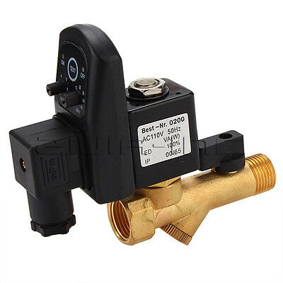 """1/2"""" AC 110V Automatic Electronic Timed Water Gas Tank Drain Valve for Gas Tank"""