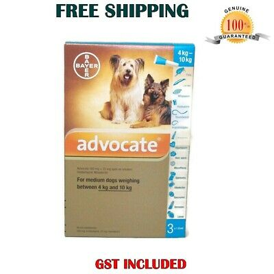 Advocate For Dog 4-10kg Medium Dogs 3 Tubes Flea and Lice Treatment Exp.10/2019