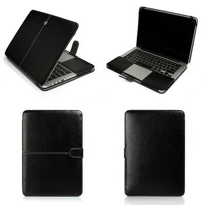 """Black Leather Laptop Cover Sleeve Case Skin For Apple Macbook AIR 11""""/ PRO 13 15"""
