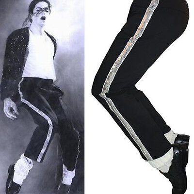 MJ Michael Jackson Black Billie Jean Entertainers Straight Silver trousers pants