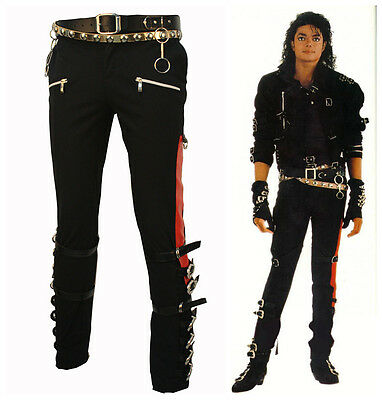 Punk Rock Michael Jackson Mj Bad Matel Buckle Trousers Skinny Pants Costume