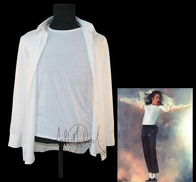 MJ In Memory of Michael Jackson Classic Super Bowl White Shirt In 1993