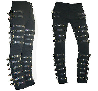 Michael Jackson Punk Classic Rivet BAD Concert  Black Metal Rock Pants Trousers