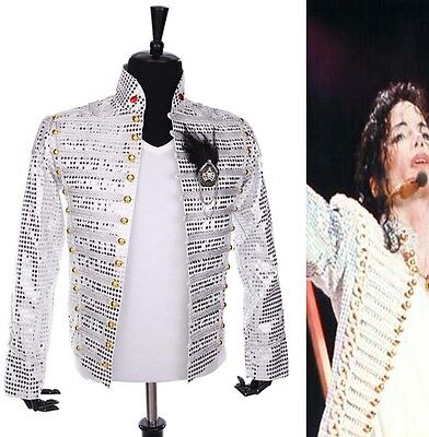 History MJ Michael Jackson White Sequin England Style Party Gentlemen Jacket HOT