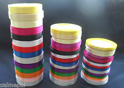 22 Metres  Satin Ribbon Craft Wedding Gift  15 colour -3 sizes -25 Yards rolls