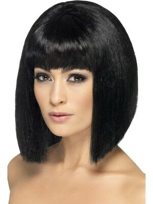 Black Coquette Wig Short with Fringe Adult Womens Smiffys Fancy Dress Costume