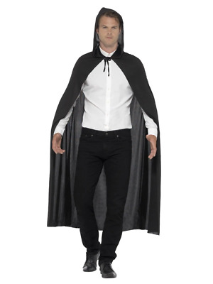 Hooded Vampire Cape Halloween Adult Unisex Smiffys Fancy Dress Accessory - Black