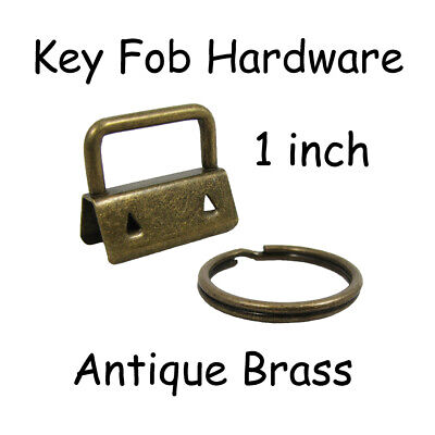 "1"" Antique Brass Key Fob Hardware with Key Rings - Pick Quantity - FREE SHIPPING"