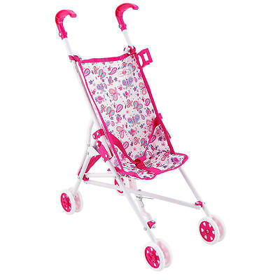 You & Me 12-18 inch Doll Stroller - White with Butterfly Print
