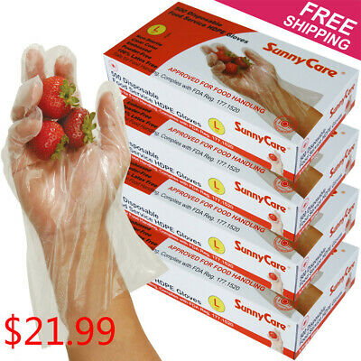 2000pcs Poly HDPE Food Handling Service Disposable Gloves Latex Free Size: Large