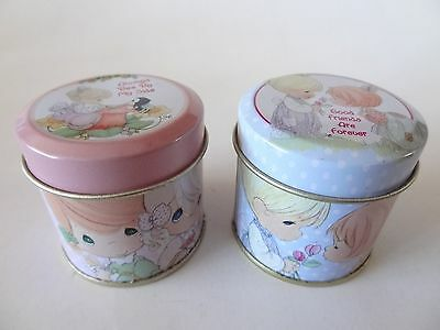 Two PRECIOUS MOMENTS Mini Tins with SCENTED CANDLES - FOREVER FRIENDS
