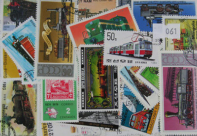 100 Trains stamps. All different. (61)