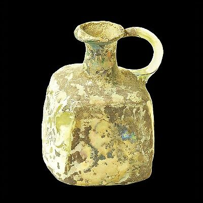 Ancient Roman Square Shaped Glass Jug