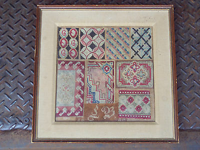"ANTIQUE NEEDLE WORK EMBROIDERY FRAMED 15 5/8"" X 15 5/8"""