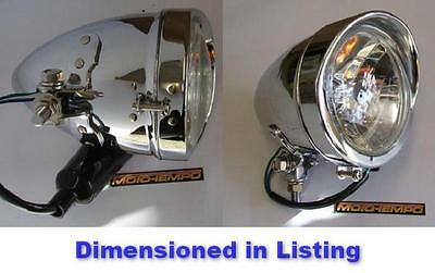 "Quality Custom Chrome Peaked Bullet Style 4 1/2"" Headlight Universal Motorcycle"