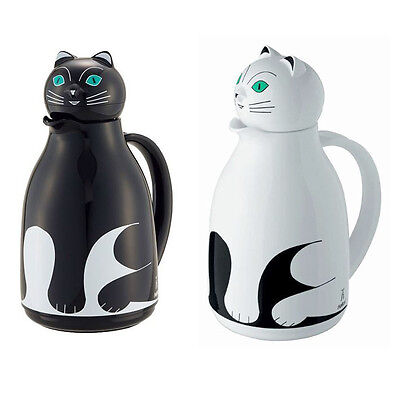 Helios Thermos Cat Tea Pot Hot Water Bottle Warm Cool Drink 1L Black White