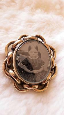 Victorian Gold Filled Double Sided Swivel Mourning Picture Photo Locket Brooch