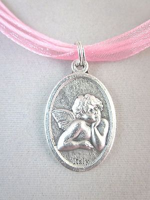 """Cherub Guardian Angel Medal Italy Pendant Necklace 18""""  Pink Ribbon Voile Cord"""