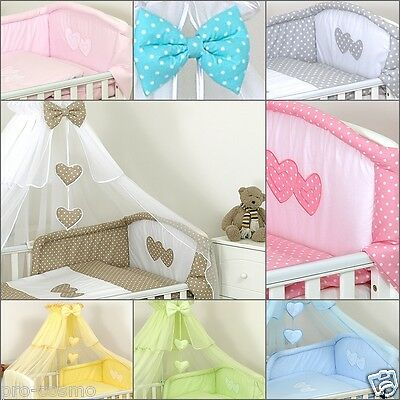 Luxury 9 Pcs Cotton Sateen Baby Cot/bed Nursery Bedding Set Bumper/canopy/drape