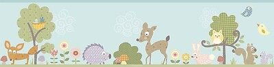 WOODLAND ANIMALS WALLPAPER BORDER Baby Nursery Forest Animals Wall Decor