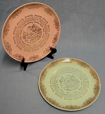"""TWO 1960 CALENDAR PLATES, PINK AND BLUE TWIN TAYLOR SMITH TAYLOR VERSATILE 10"""""""