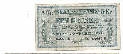 Faeroe Islands November 1940 5 Kroner  Pick 10 Scarce Type  F-VF just wear