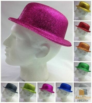12x GLITTER BOWLER HAT Fancy Party Plastic Costume Cap Fun Dress Up Sparkle BULK