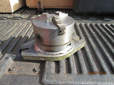 """MACHINIST LATHE 5"""" 3 Jaw Lathe Chuck on Indexing Rotary Base for Mill 1 3/16"""" BR"""