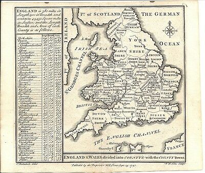 Antique map, England & Wales divided into Counties, with the County towns.