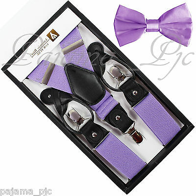 New Mens Convertible Suspenders Adjustable Elastic Braces And Pretied Bow tie
