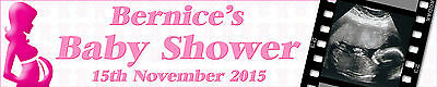Personalised Baby Shower Banners With Your Baby Scan Photo Pack Of Two Pink Lady