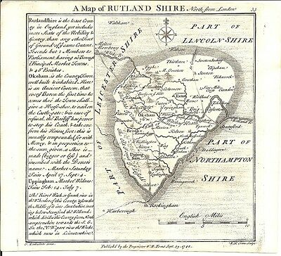 Antique map, Rutlandshire .