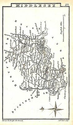 Antique map, Middlesex …
