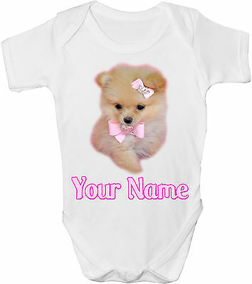 Teacup Pomeranian & Bow Personalised Baby Vest /gro /bodysuit *gift & Named*