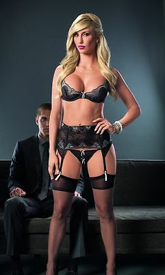 New! High End Embroidered Sensual Mesh And Lace Black Bra Garter & G-String Set