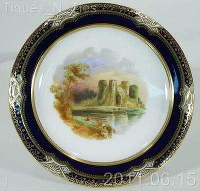 c1890 Bone China Hand Painted Cabinet Compote Footed Plate Cowdray Castle (DD)