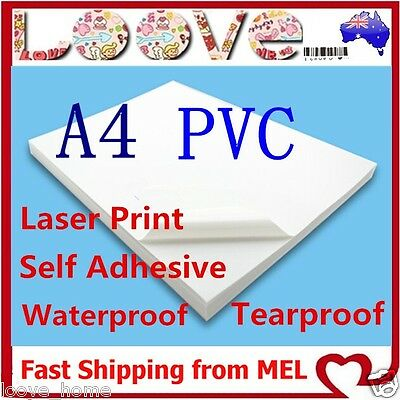 100X A4 White PVC Glossy Waterproof SelfAdhesive Sticker Label Laser Print Paper