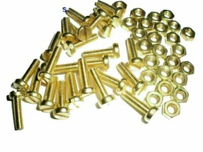 4mm M4 BRASS Machine Screws/Bolts and Nuts Cheese Head Slotted.