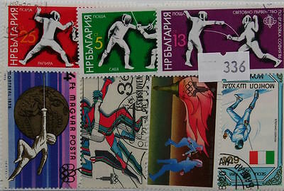 Fencing. 25 stamps, All different. (336)