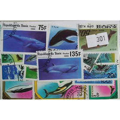 Sharks, Dolphins & Whales. 20 stamps, all different. (301)