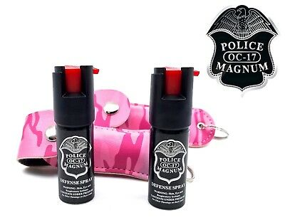 2 PACK Police Magnum pepper spray 1/2oz Pink Camo Keychain Holster Security