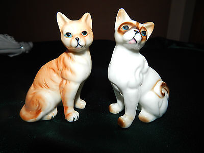 "2 Cat Figurines A CHOCOLATE POINT SIAMESE & A TABBY  3.25"" tall Bone China"