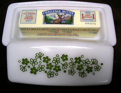 PYREX Covered MILK GLASS 1/4 pound Butter Dish SPRING BLOSSOM GREEN Crazy Daisy