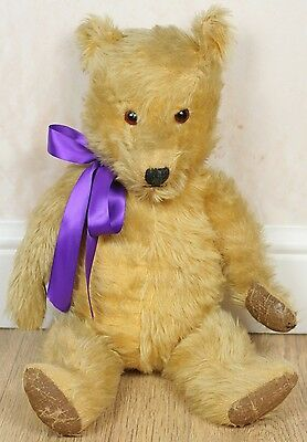 """Vintage/Antique 1950s Chiltern Hugmee Mohair Jointed Old Teddy Bear, 20"""" Tall"""