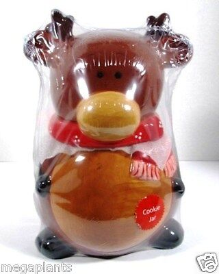 """Brand New - CHRISTMAS Holiday CANISTER Cookie Jar - 10"""" x 8"""" REINDEER So Cute"""